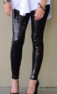 Black Sequin Stretch Pants